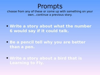Narrative Writer's Notebook Prompts