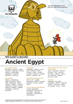 Narrative Writing Activity: 100 vocabulary words about Ancient Egypt