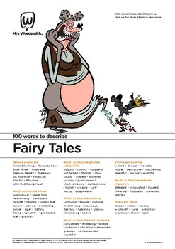 Narrative Writing Activity: 100 vocabulary words about Fairy Tales