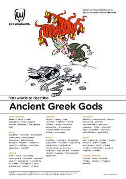 Narrative Writing Activity: 100 vocabulary words about Ancient Greek Gods