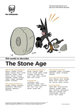 Narrative Writing Activity: 100 vocabulary words about The Stone Age