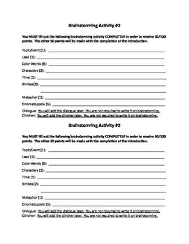 Narrative Writing Activity Brainstorming (2)