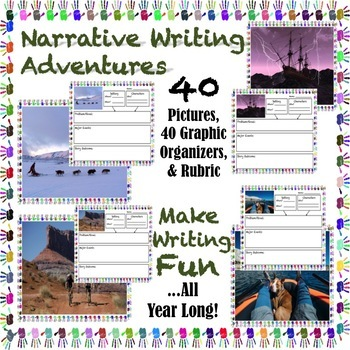 NARRATIVE WRITING PROMPTS: Pictures, Graphic Organizers, & Rubric