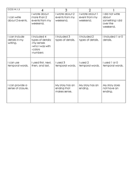 Narrative Writing Assessment with Rubric