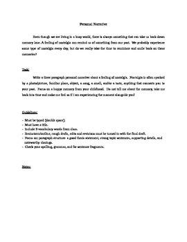 Narrative Writing Assignment