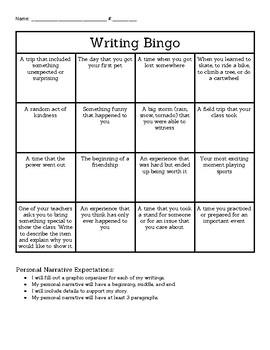 Narrative Writing Bingo