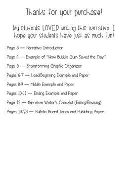 Narrative Writing - Bulletin Board Bubble Gum Idea