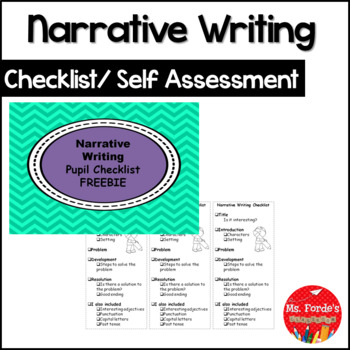 Narrative Writing Checklist/Self Assessment FREEBIE