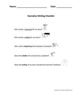 Narrative Writing Checklist (Kid Friendly)