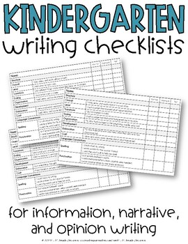 Narrative Writing Checklist, Kindergarten