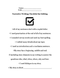Narrative Writing Checklist for Self or Peer Assessment