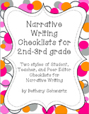 Narrative Writing Checklists for 2nd - 3rd Grade