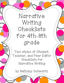 Narrative Writing Checklists for 4th - 8th Grade