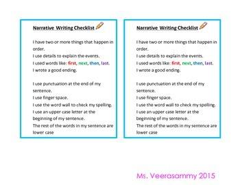 Narrative Writing Checlist