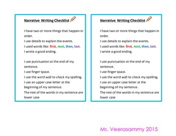 Narrative Writing Checlist