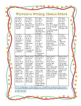 Narrative Writing Choice Board