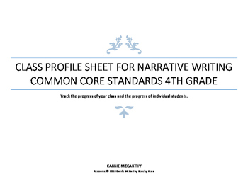 Narrative Writing Class Profile Chart