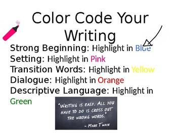 Narrative Writing Color Coding