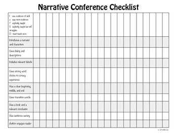 Narrative Writing Conferencing Form