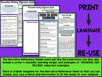 Narrative Writing Criteria Bookmarks and EDITABLE Reference Sheet