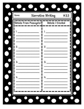 Narrative Writing Details Organizer