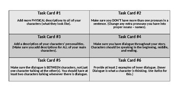 Narrative Writing Editing Task Cards
