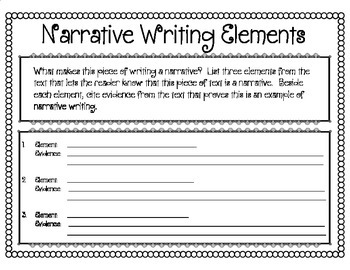Narrative Writing Elements and Text Evidence