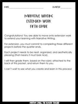 Narrative Writing Enrichment Choice Boards