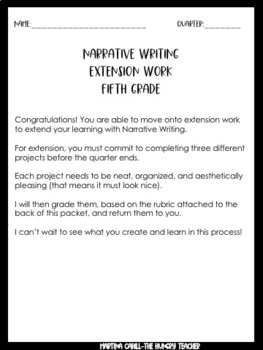 Narrative Writing Enrichment Choice Boards Freebie