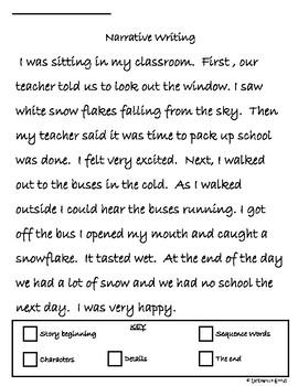 Narrative Writing Example and Organizer