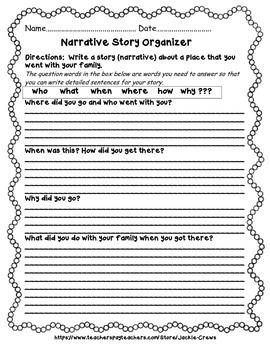Narrative Writing Family Story Organizer