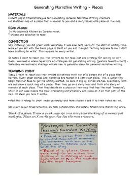 Narrative Writing Gathering Ideas Activities Grades 3-6