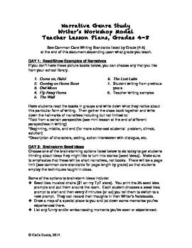 Narrative Writing Genre Study/Lesson Plans Grades 4-8
