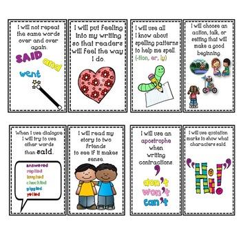 Goal Setting MINI POSTERS for Grade 2 Writers! Narrative Writing!