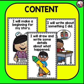 Goal Setting MINI POSTERS for K-1 Writers! Narrative Writing