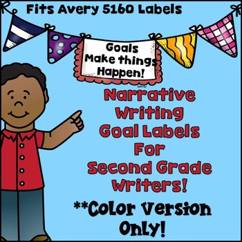 Goal-Setting Labels for Second Grade Writers!  COLOR VERSI