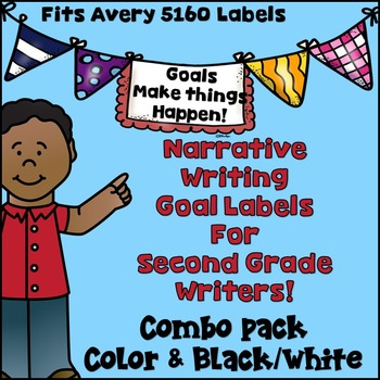 Goal Setting Labels for Second Grade Writers!  COMBO! Narrative Writing