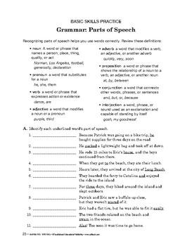 Narrative Writing: Grammar: Parts of Speech