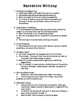 Narrative Writing Handout