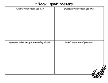 Narrative Writing Hook Graphic Organizer