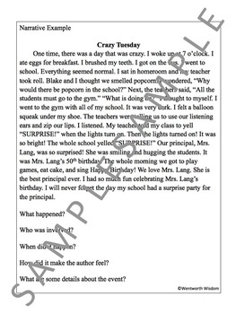 Narrative Writing No Prep Lesson Literacy Practice Worksheets & Activities