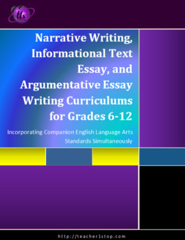 Narrative Writing, Informational Text and Argumentative Essay Curriculum
