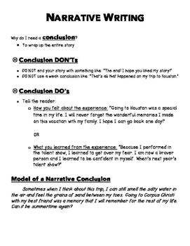 Narrative Writing Introductions and Conclusions Resource Sheet
