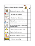 Narrative Writing: Making a Choice - Editing Checklist Rea