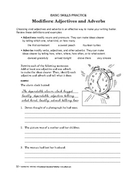 Narrative Writing: Modifiers: Adjectives and Adverbs
