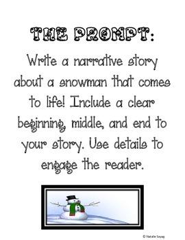 Narrative Writing Organizer - A Snowman Who Comes to Life!