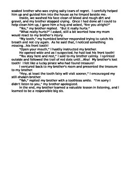 Narrative Writing Outline, Student Sample Outline & Essay