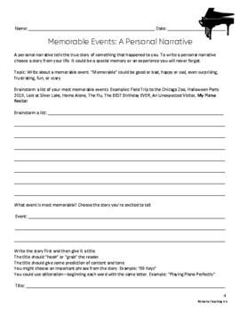 Writing A Personal Narrative: Memorable Events SCAFFOLDED