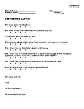 Narrative Writing - Peer Editing Rubric
