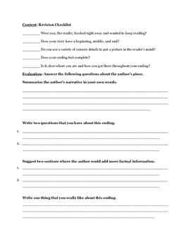 Narrative Writing Peer/Self Editing Sheet